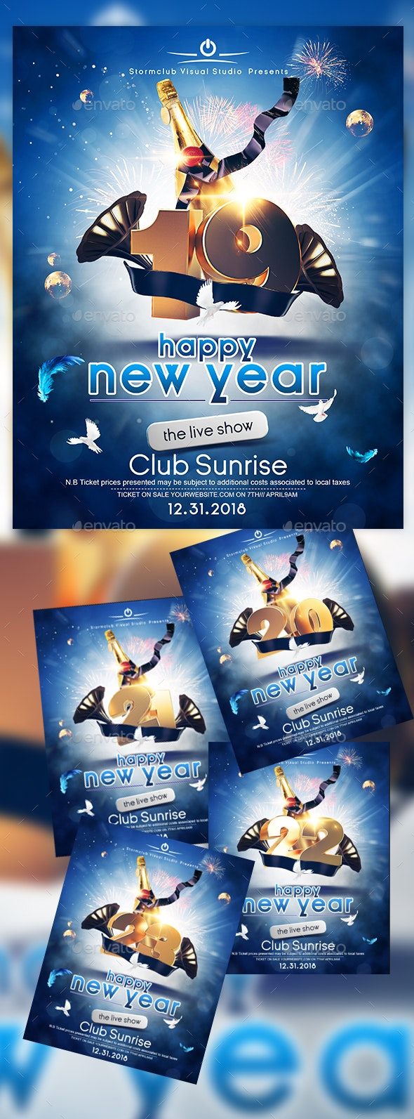 A4 New Years Eve Poster Template - Events Flyers