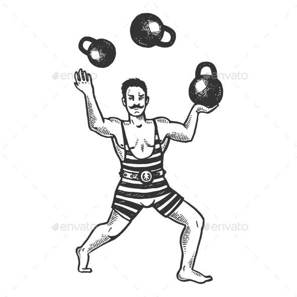 Circus Strongman Juggles Weights Engraving Vector - Miscellaneous Vectors