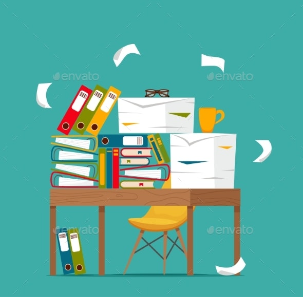 Pile of Papers, Documents and File Folders - Business Conceptual