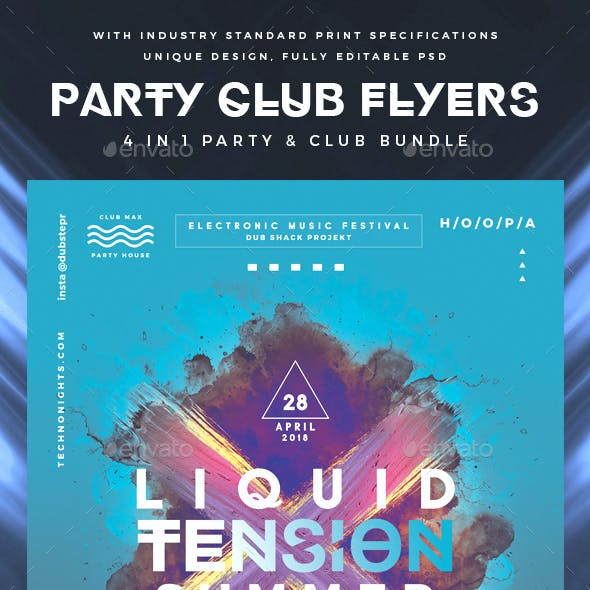 Modern Party & Club Flyer Poster Bundle Pack
