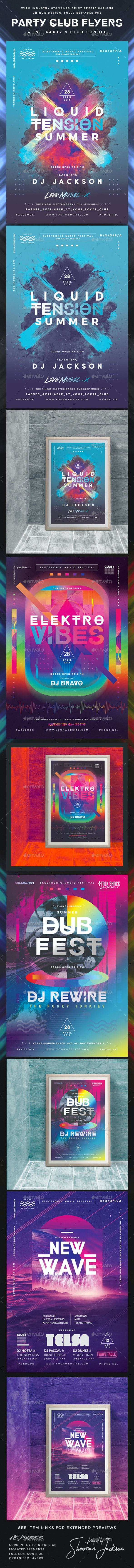 Modern Party & Club Flyer Poster Bundle Pack - Clubs & Parties Events