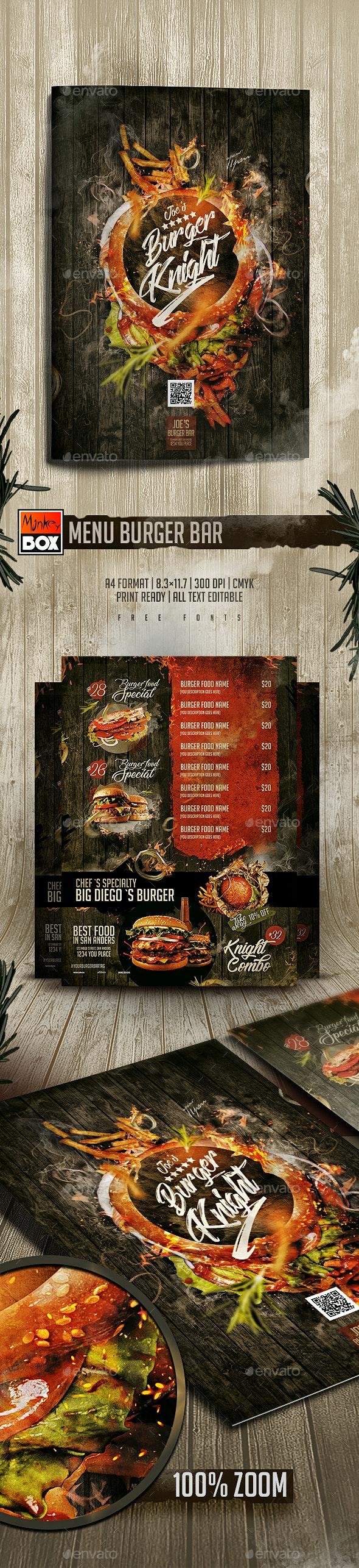 Menu Burger Bar - Food Menus Print Templates