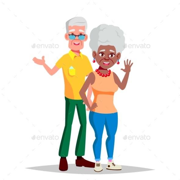 Elderly Couple Vector. Modern Grandparents
