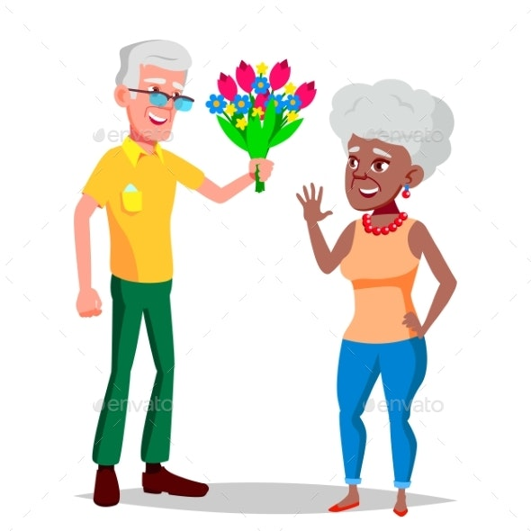 Elderly Couple Vector. Grandfather And Grandmother - People Characters