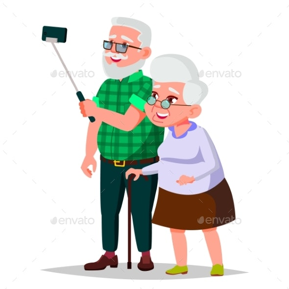 Elderly Couple Vector. Grandpa With Grandmother - People Characters