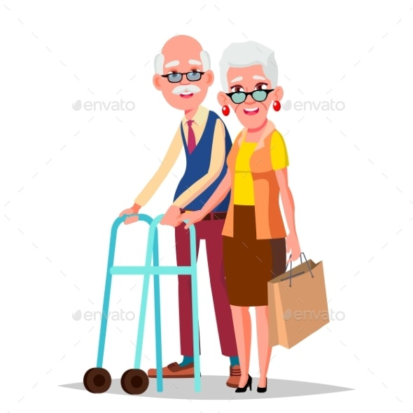 Elderly Couple Vector. Modern Grandparents - People Characters