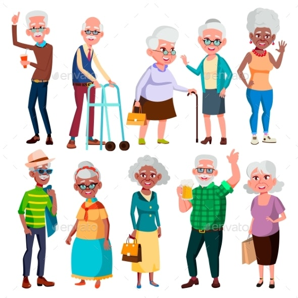 Elderly People Vector. Grandfather And Grandmother - People Characters
