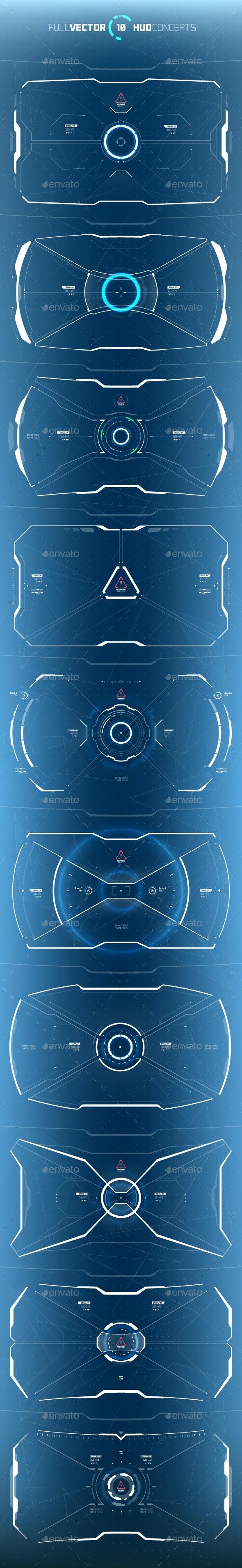Conceptual 10 Futuristic Hi-Tech HUD Set - Decorative Symbols Decorative