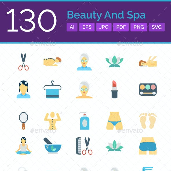 130 Beauty and Spa Color Vector Icons Set