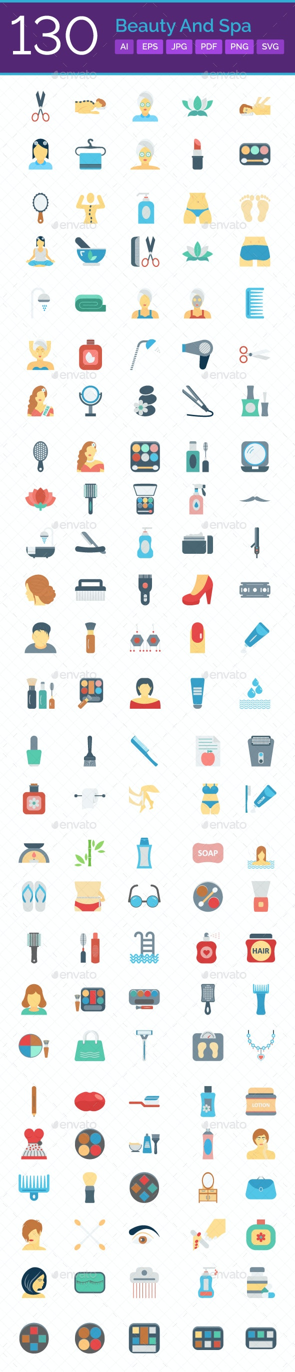 130 Beauty and Spa Color Vector Icons Set - Icons