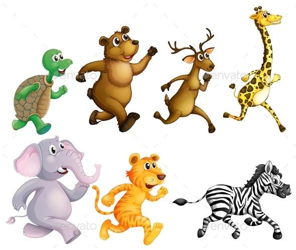 Wild Animals Running On White Background - Animals Characters