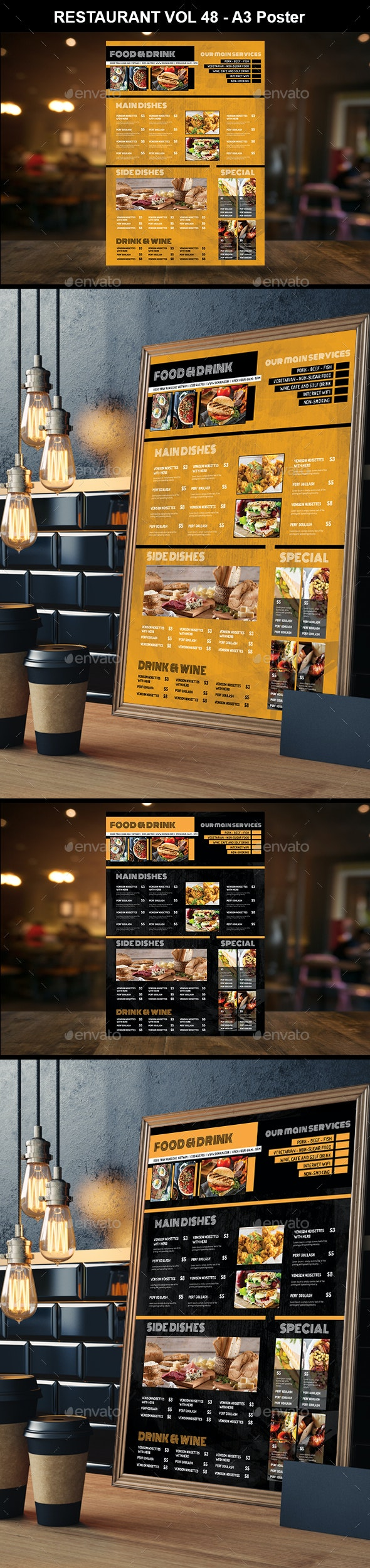 Restaurant A3 Poster Vol 48 - Food Menus Print Templates