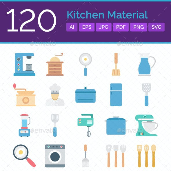 120 Kitchen Material Color Vector Icons Set