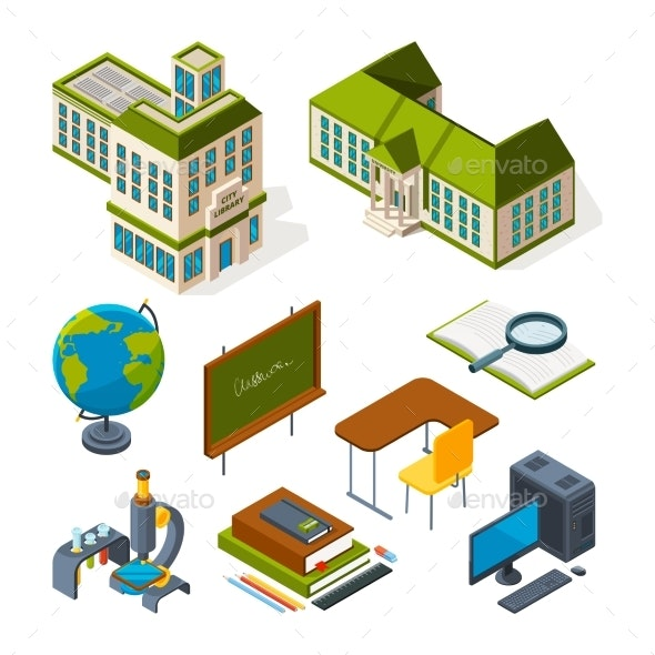 School and Education Isometric. Back To School 3d - Buildings Objects