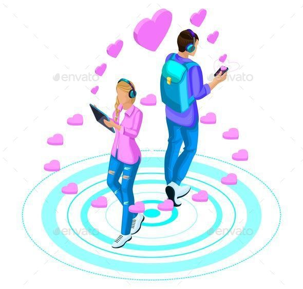 Isometry Girl and Boyfriend are in Love With the Social Network - Business Conceptual