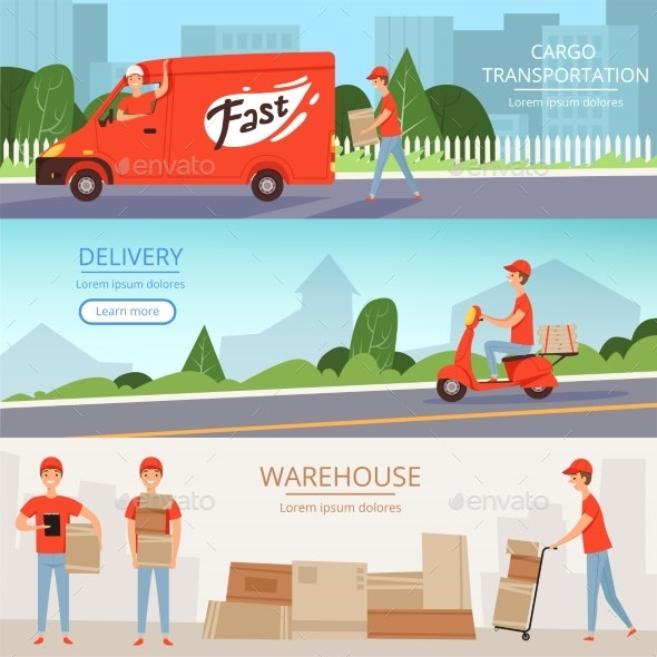 Delivery Service Banners. Cargo Warehouse Workers - People Characters