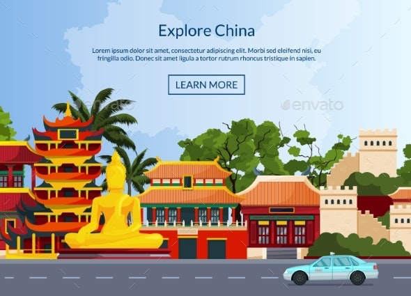 Vector Flat Style China Elements and Sights - Miscellaneous Vectors