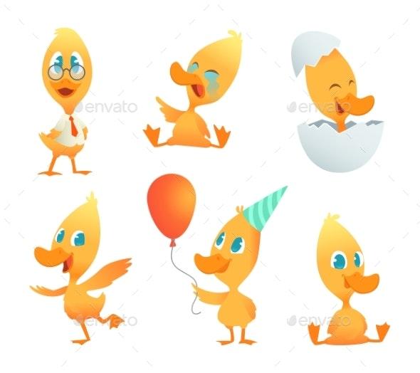 Illustrations of Funny Duck. Vector Cartoon - Miscellaneous Vectors
