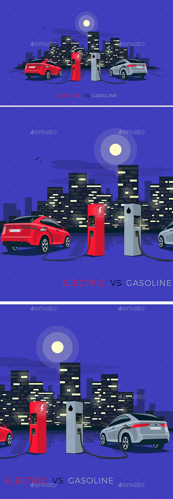 Electric Car Versus Gasoline Car with Night City Skyline - Computers Technology