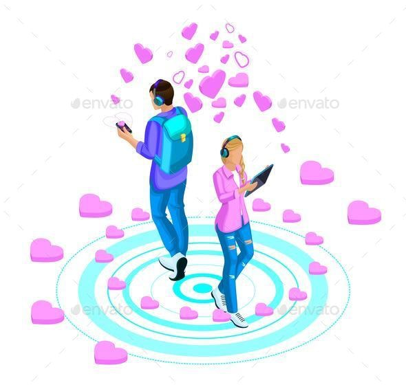Isometry of a Girl And a Guy Are Leading Love Correspondence Through Messages and Video - Business Conceptual