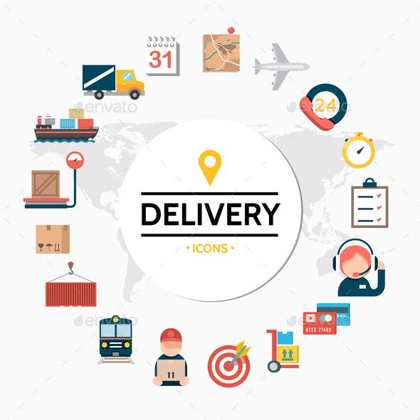 Flat Delivery Round Concept - Miscellaneous Vectors