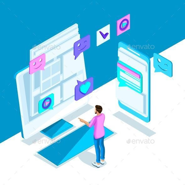 Isometric Bright Template with an Internet Correspondence - Concepts Business