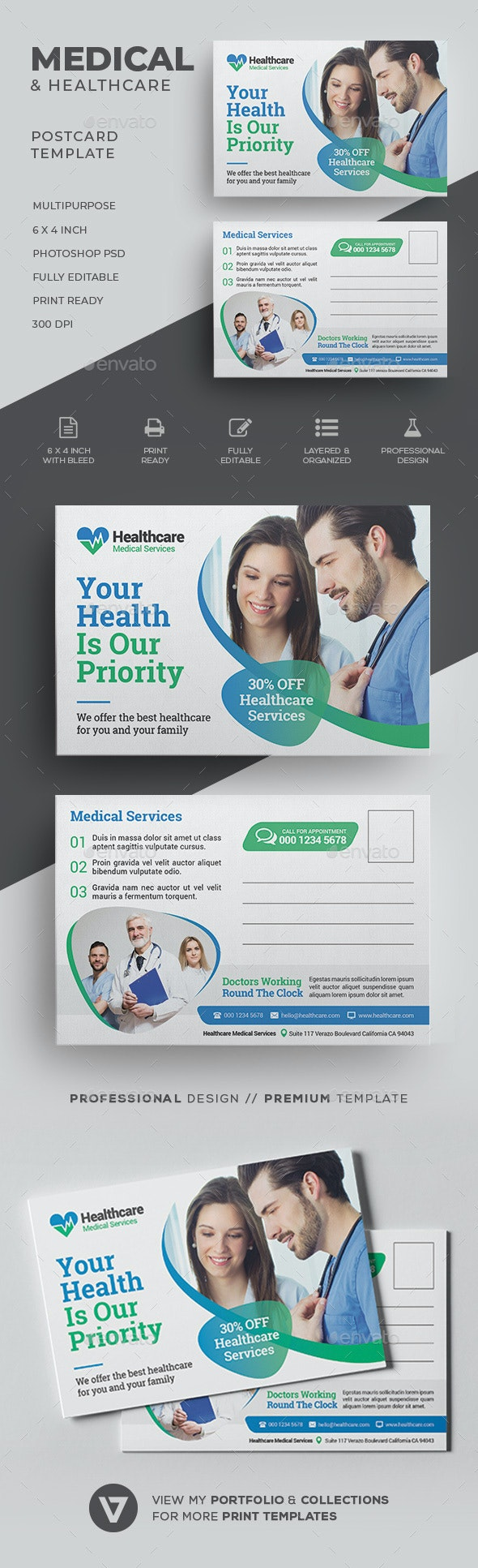 Medical Postcard - Cards & Invites Print Templates