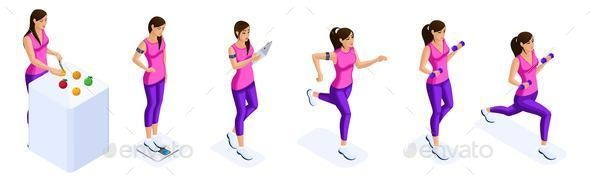Isometry of a Girl Engaged in Sports, Running - People Characters