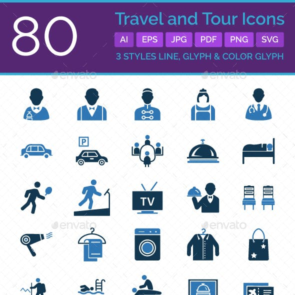 80 Travel And Tour Vector Icons Set