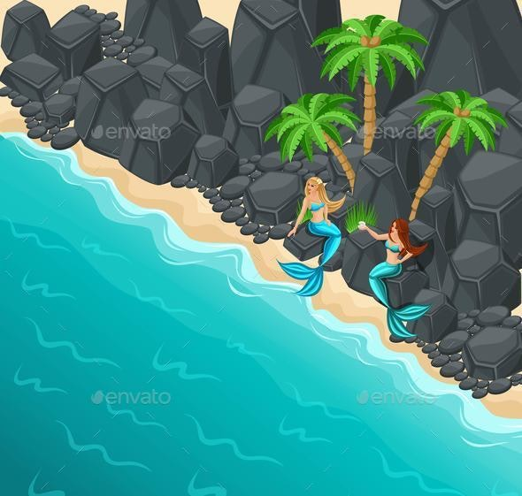 Isometric Island, Two Mermaids on a Rocky Shore, Rocks, Palms, Sea, Sweet-Hearted Serenas - Animals Characters