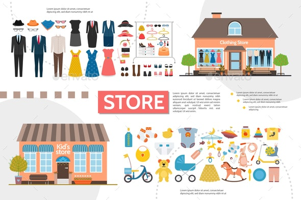 Flat Clothing And Kids Shops Infographics - Buildings Objects