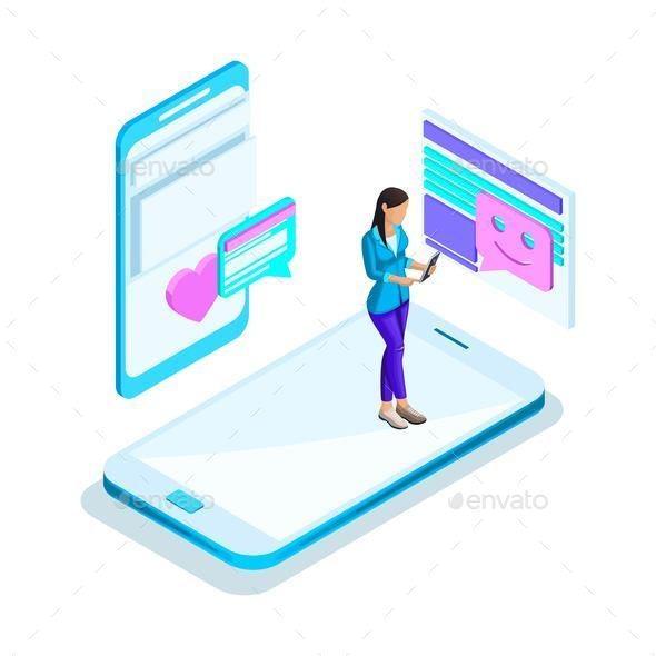 Isometrics Girl Communicates on the Internet - Communications Technology