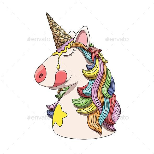 Unicorn Character Head Portrait with Rainbow Hair - Animals Characters