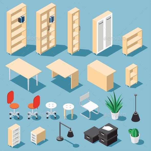 Isometric Office Funiture Set - Miscellaneous Vectors