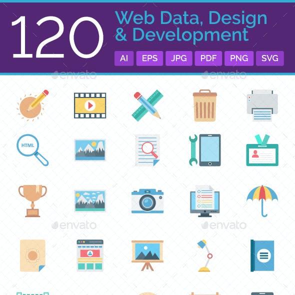 120 Web Data, Design And Development Color Vector Icons Set