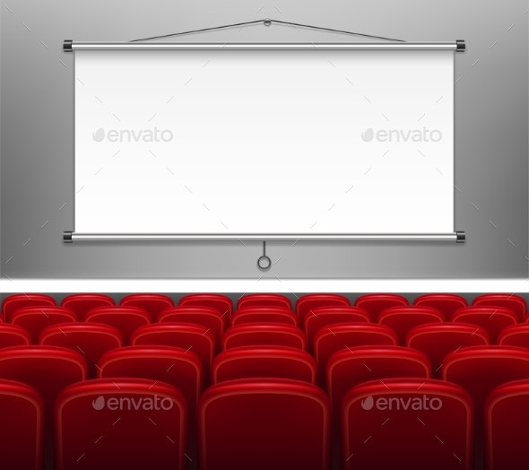 Projector Screen with Red Seats for Presentation - Backgrounds Decorative