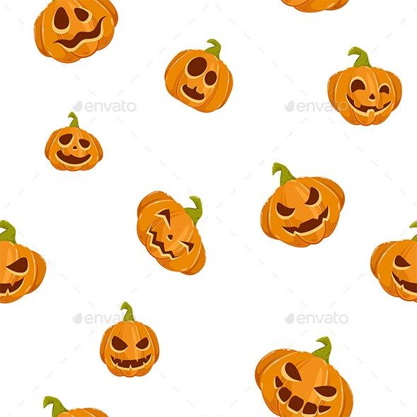 Seamless Background with Pumpkins for Halloween - Halloween Seasons/Holidays