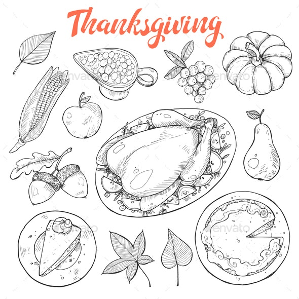 Thanksgiving Sketches Vector - Food Objects