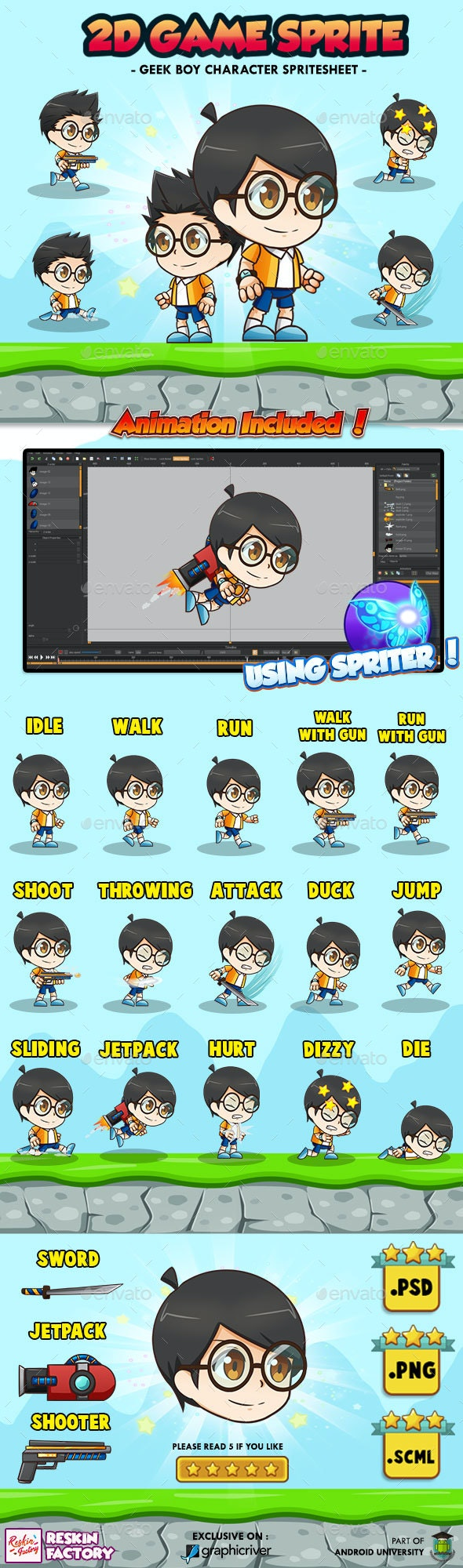 Geek Boy Tobi - 2D Game Character Sprites - Sprites Game Assets