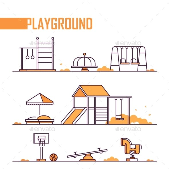 Set of Playground Elements - Modern Vector