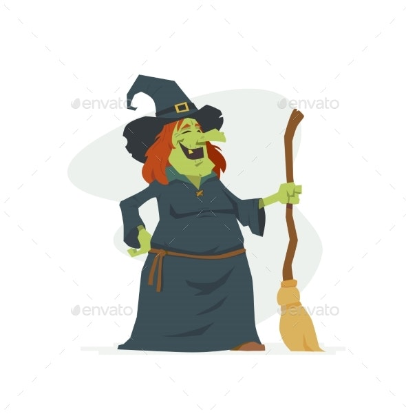 Witch - Modern Cartoon People Characters Isolated - Halloween Seasons/Holidays