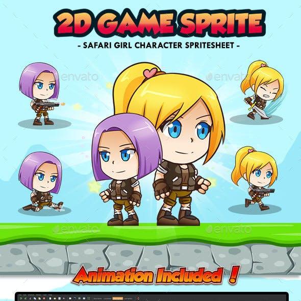 Safari Girl Nina Angela - 2D Game Character Sprites