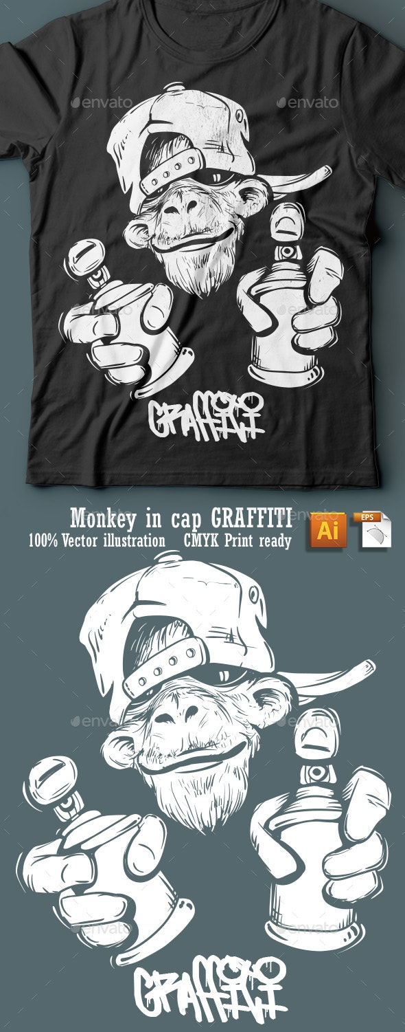 Monkey In Cap Holding A Spray Paint - Designs T-Shirts