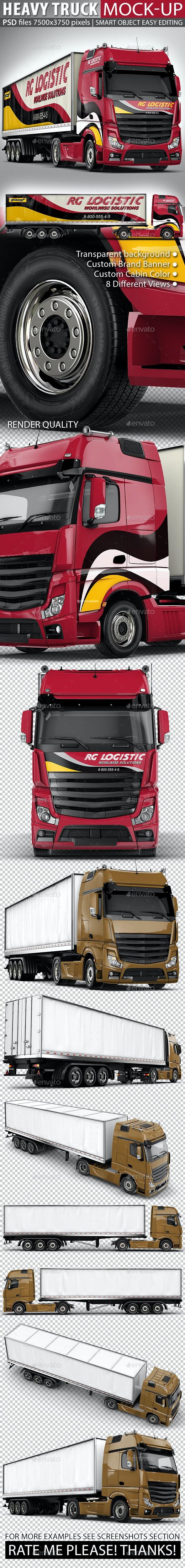Semi-Trailer Truck Mock Up based Mercedes Actros - Vehicle Wraps Print