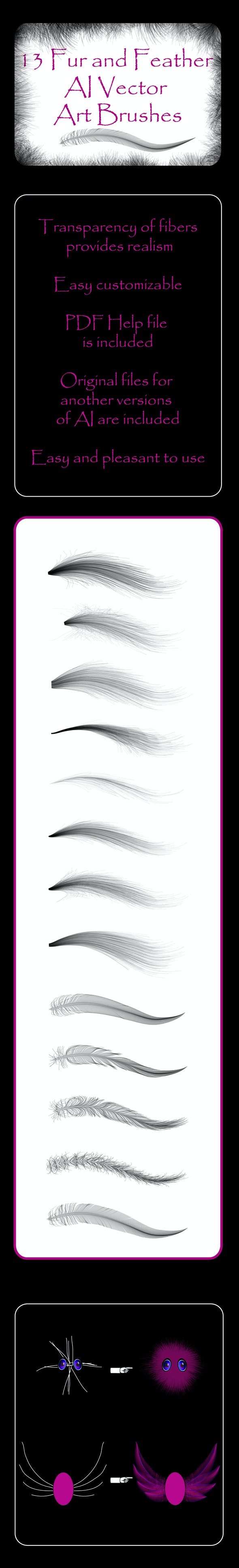 Fur and Feather  - 13 Fluffy Vector Art AI Brushes