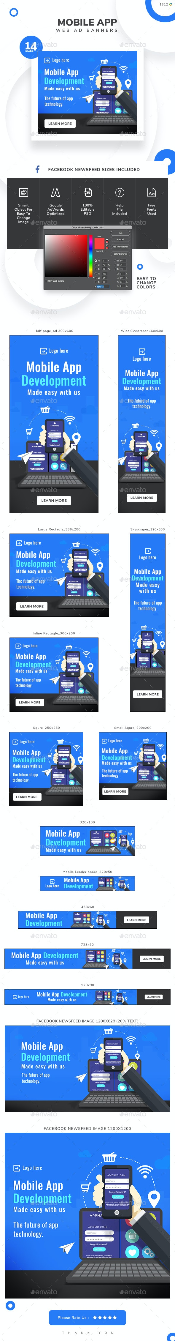 Mobile App Web Banner Set - Banners & Ads Web Elements