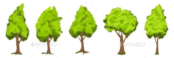 Vector Trees Set - Flowers & Plants Nature
