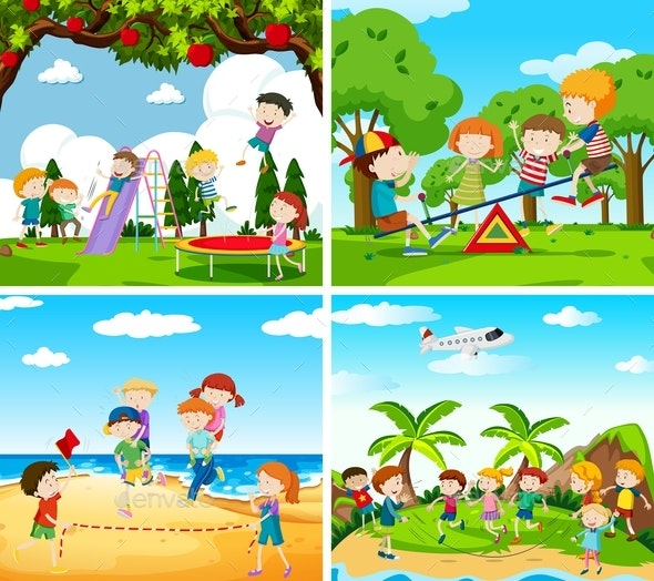 Set Of Scene Of Children Playing - People Characters