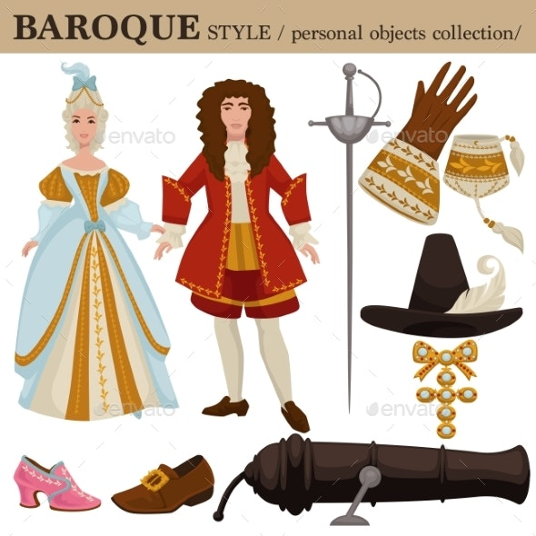 Baroque or 17 Century European Old Retro Fashion - Man-made Objects Objects