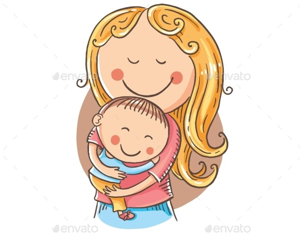Happy Cartoon Mother with a Child - People Characters